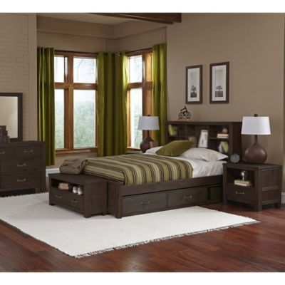 NE Kids Highlands Full Bookcase Bed with Trundle in Espresso