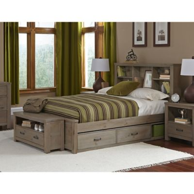 NE Kids Highlands Full Bookcase Bed with Trundle in Driftwood