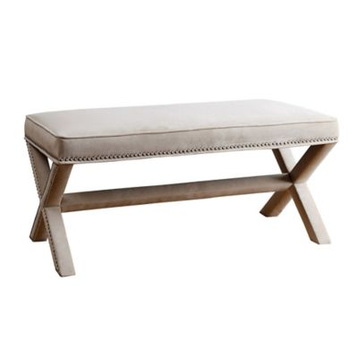 Abbyson Living Arc Extended X Bench in Cream