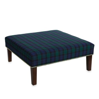 Skyline Furniture Redwood Cocktail Ottoman in Blackwatch