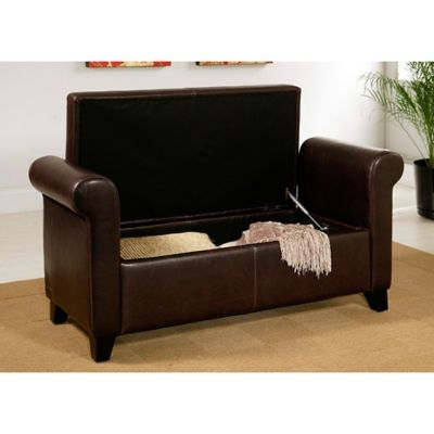 Stratford Leather Storage Bench in Brown