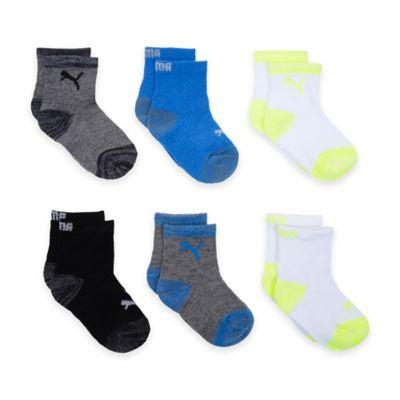 Puma® Size 2T-4T 6-Pack Socks in Black/Grey/Blue