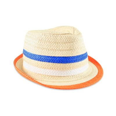 Aquarius Limited Newborn Straw Fedora with Colored Stripes
