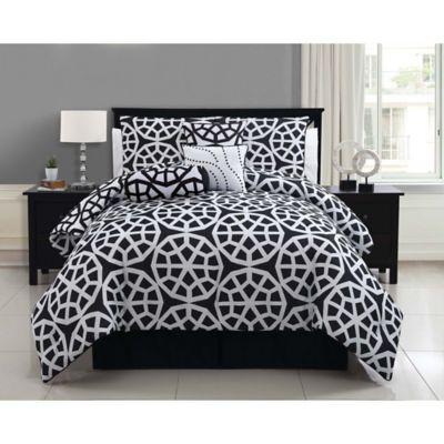 VCNY Villa 7-Piece Reversible Queen Comforter Set in Black/White
