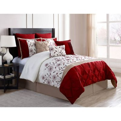 VCNY Prairie 9-Piece King Comforter Set in Red/Ivory