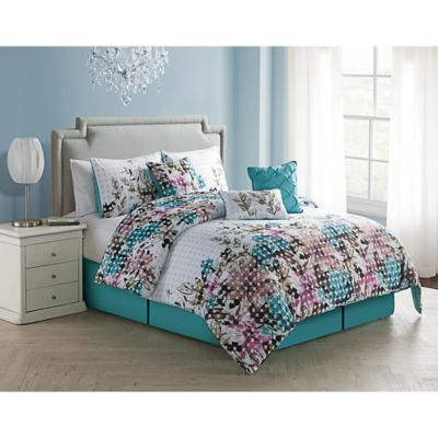 VCNY Floral Dot 6-Piece Twin Comforter Set in Blue/White