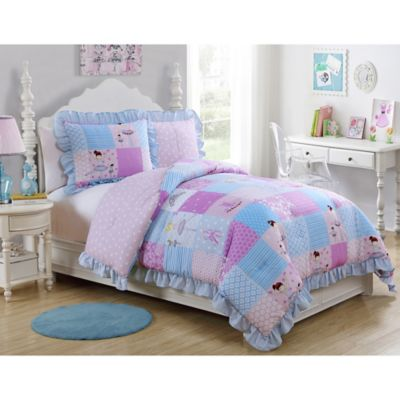 VCNY Tutu Cute 2-Piece Reversible Twin Comforter Set in Purple