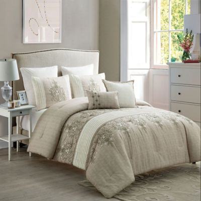 VCNY Grace 7-Piece Queen Comforter Set in Brown