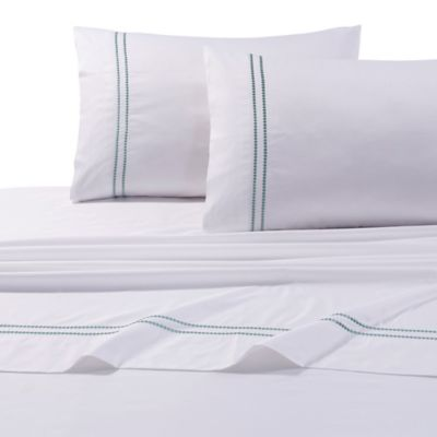 Tribeca Living 400-Thread-Count Egyptian Cotton Embroidered Dot Full Sheet Set in Green
