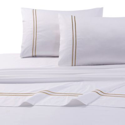 Tribeca Living 400-Thread-Count Egyptian Cotton Embroidered Dot California King Sheet Set in Gold