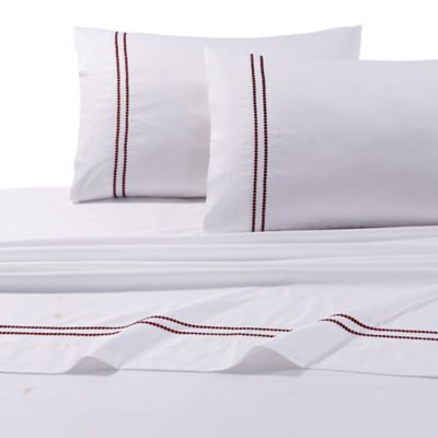 Tribeca Living 400-Thread-Count Egyptian Cotton Embroidered Dot Twin Sheet Set in Red