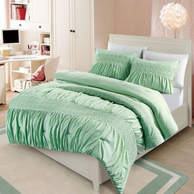 VCNY Janeth 2-Piece Twin Comforter Set in Green