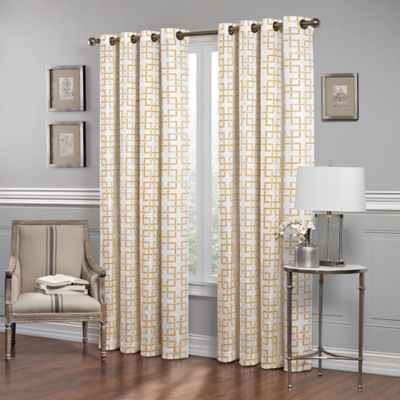 SolarShield Manning Trellis 63-Inch Room-Darkening Window Curtain Panel in Wheat