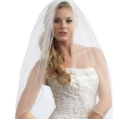 Julia Elbow Length 1-Layer Simulated Pearl and Crystal Tulle Bridal Veil in White