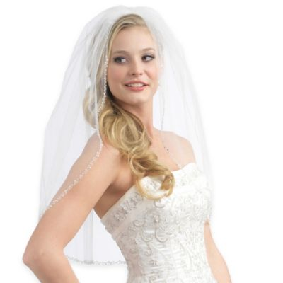 Fingertip Length 1-Layer Simulated Pearl and Crystal Edge Bridal Veil in White
