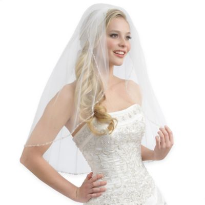 Emma Fingertip Length 1-Layer Accented Edge Tulle Bridal Veil in White