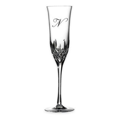 "Waterford® Lismore Essence Monogram Letter ""N"" Champagne Flutes (Set of 2)"