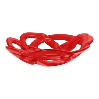 Kosta Boda Large Basket Bowl in Red