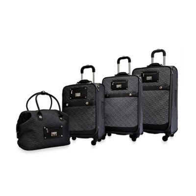 Adrienne Vittadini Quilted 4-Piece Luggage Set in Dark Olive