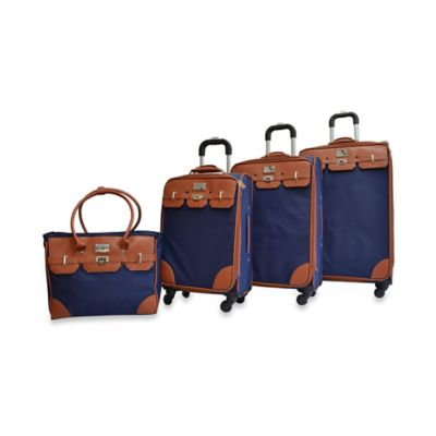 Adrienne Vittadini Nylon 4-Piece Luggage Set in Navy