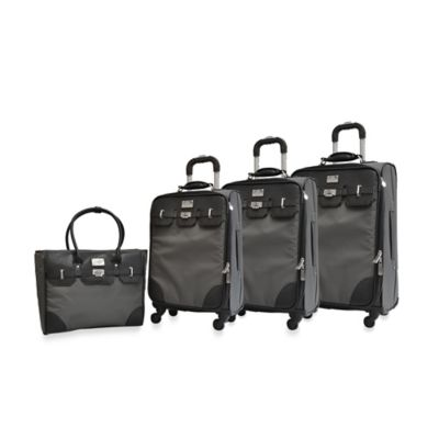 Adrienne Vittadini Nylon 4-Piece Luggage Set in Slate Grey