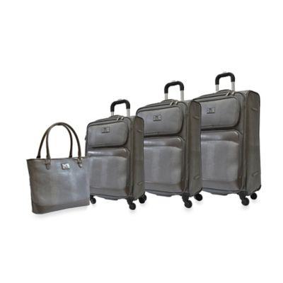 Adrienne Vittadini Lizard 4-Piece Luggage Set in Chocolate