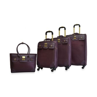 Adrienne Vittadini Greenwich 4-Piece Luggage Set in Plum