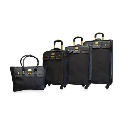 Adrienne Vittadini Greenwich 4-Piece Luggage Set in Black