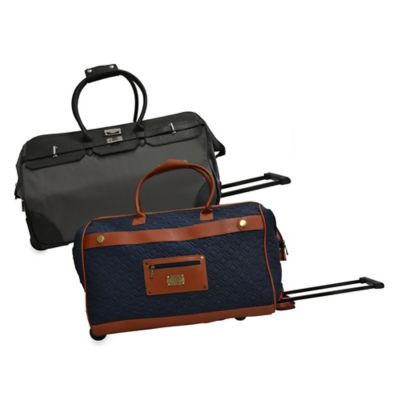 Adrienne Vittadini Nylon 22-Inch Rolling Duffle Bag in Navy