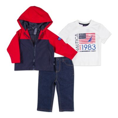 Nautica Kids® Size 0-3M 3-Piece Shell Jacket, Shirt, and Pant Set in Red/Navy
