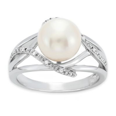 Sterling Silver Freshwater Cultured Pearl 0.03 cttw Diamond Size 8 Ladies' Openwork Ring