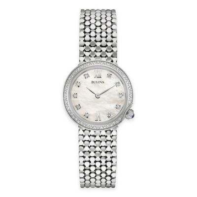 Bulova Maiden Lane Ladies' Diamond Case Bracelet Watch in Goldtone Stainless Steel