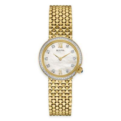 Bulova Maiden Lane Ladies' Diamond Case Bracelet Watch in Goldtone Stainless Steel