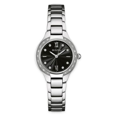 Bulova Maiden Lane Ladies' Diamond Case Bracelet Watch in Stainless Steel with Black Dial