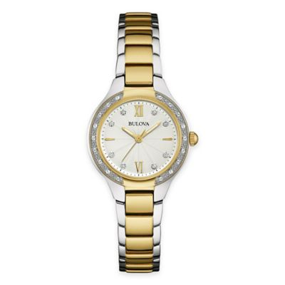 Bulova Maiden Lane Ladies' Diamond Case Bracelet Watch in Two-Tone Stainless Steel