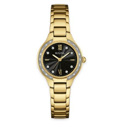 Bulova Maiden Lane Ladies' Diamond Case Bracelet Watch in Goldtone Stainless Steel with Black Dial