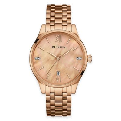 Bulova Maiden Lane Ladies' Bracelet Watch in Rose Goldtone Stainless Steel