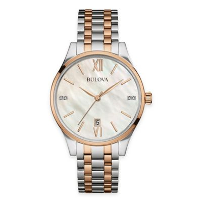 Bulova Maiden Lane Ladies' Bracelet Watch in Two-Tone Stainless Steel with Mother of Pearl Dial
