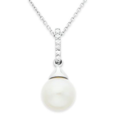Sterling Silver 8-9mm Freshwater Cultured Pearl and .05 cttw Diamond Linear Drop Pendant Necklace