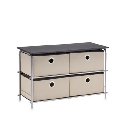 Home Basics® 2-Tier 4-Drawer Chest in Beige/Grey/Black