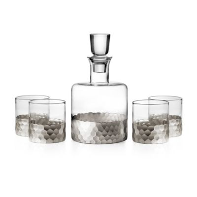 Fitz and Floyd® Daphne 5-Piece Small Whiskey Decanter Set in Silver