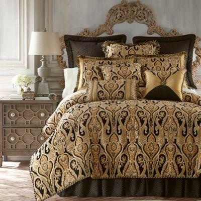 Austin Horn Classics Alexandria Reversible Comforter Set in Black/Gold