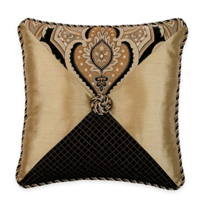 Austin Horn Classics Alexandria Pieced Square Throw Pillow in Black/Gold