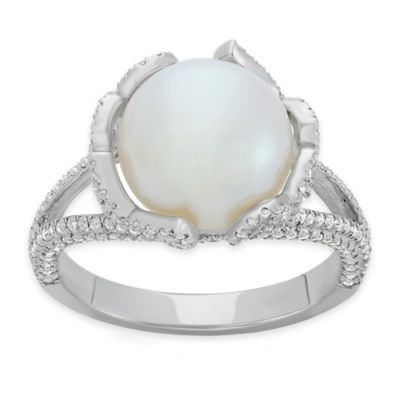 Sterling Silver Freshwater Cultured Pearl and Cubic Zirconia Size 5 Ladies' Circular Frame Ring