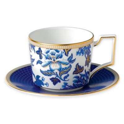 Blue Teacup and Saucer Set