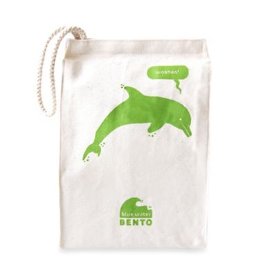 ECOlunchbox® Organic Cotton Green Dolphin Water Bento Lunch Bag
