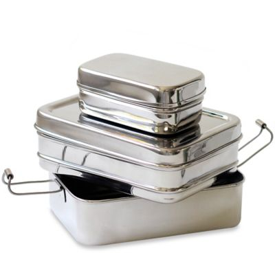 ECOlunchbox Three-in-One 3-Piece Lunchbox Set in Stainless Steel