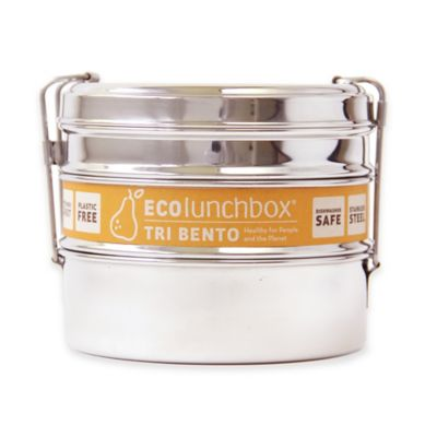 ECOlunchbox Tri Bento 3-Tier Food Container Set in Stainless Steel