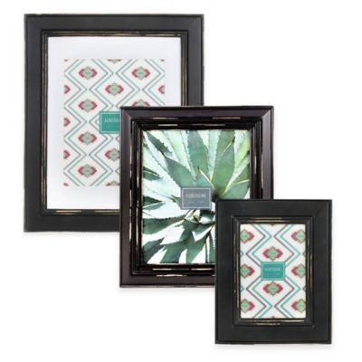 Aubergine Phoenix 5-Inch x 7-Inch Distressed Wood Picture Frame in Black