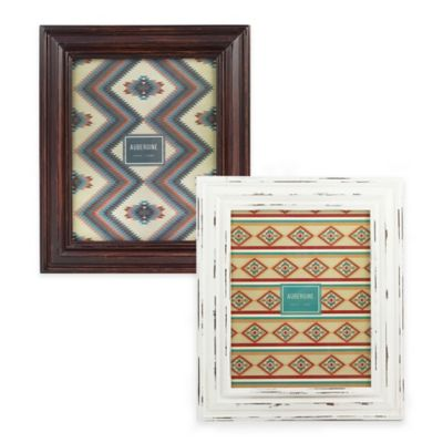 Aubergine Lawton 8-Inch x 10-Inch Distressed Wood Picture Frame in White